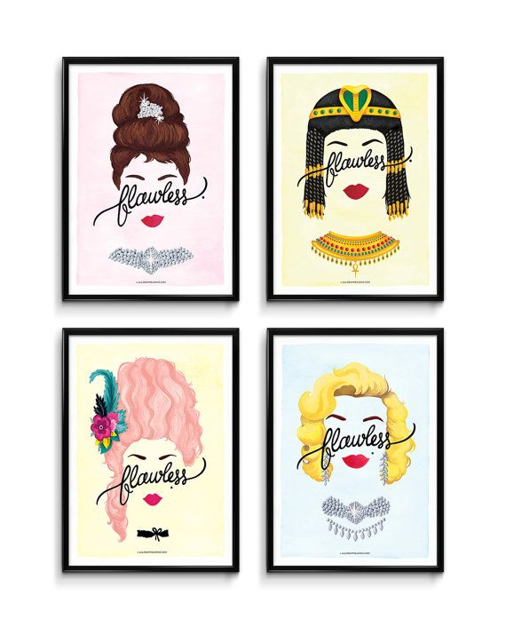 Set of 4 Flawless Posters Calligraphy Print Series by DrawMeASong
