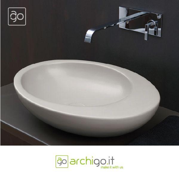 """""""Le giare"""", #lavabo freestanding a parete brina, di #Ceramica #Cielo."""