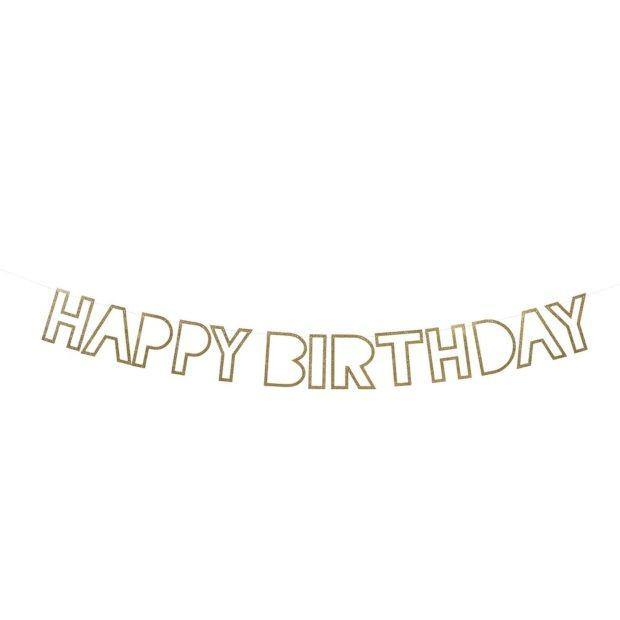 Meri Meri Slinger Happy Birthday - Goud - afbeelding 1