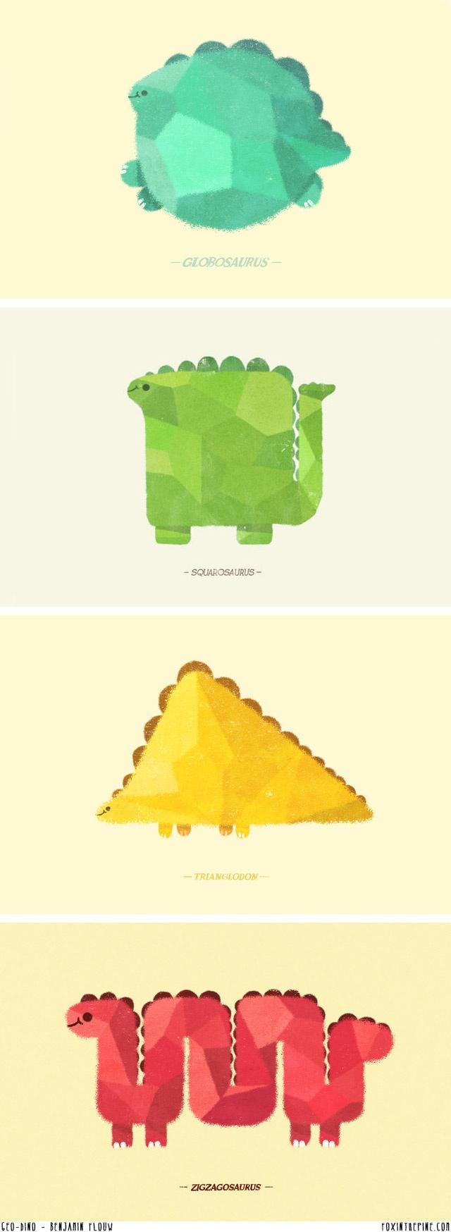 Geo-dino posters by Benjamin Flouw   //   FOXINTHEPINE.COM