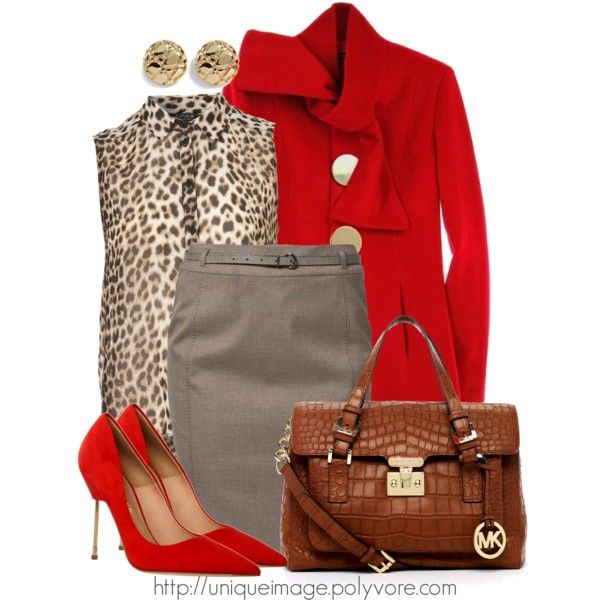 Can't go wrong with red and leopard for the fall: Fashion, Red Leopards, Style, Outfits Ideas, Pencil Skirts, Animal Prints, Work Outfits, Wear, Polyvore Dresses Outfits