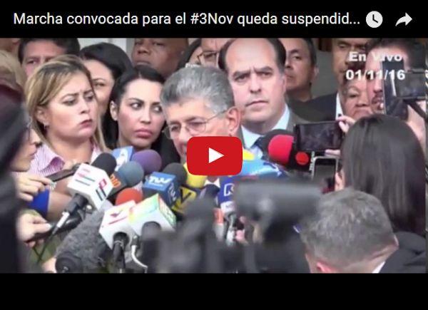 Ramos Allup anuncia suspensión de la Marcha a Miraflores El presidente de la Asamblea Nacional Henry Ramos Allup anunció este martes que la marcha convocada para el próximo 3 de noviembre por la... http://www.facebook.com/pages/p/584631925064466