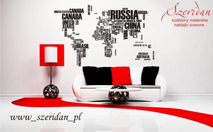 Mapa świata, kontynenty, NAZWY PAŃSTW nr 223 - Naklejka, nalepka na ścianę