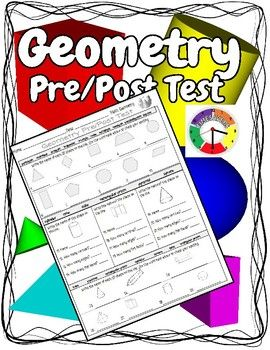 I use this Geometry pre/post math test before and after our Geometry unit to get an idea of what my students know and have learned. Below is a list of each of the concepts covered in assessment: 1. Identify the names of 2D shapes including 2. Identify the name of 3D shapes including cone, pyramid, rectangular prism, cylinder, sphere, cone, triangular prism.  3.