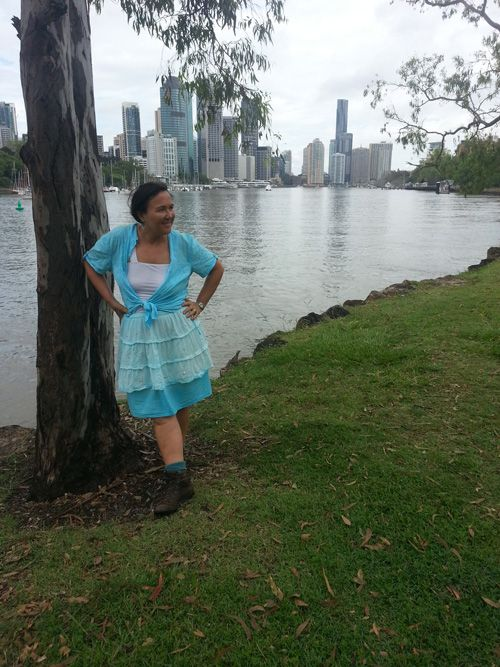 Sew 363 - Upcycled action research - cotton walk wear includes shirt knotted at waist and peasant skirt minus two frills