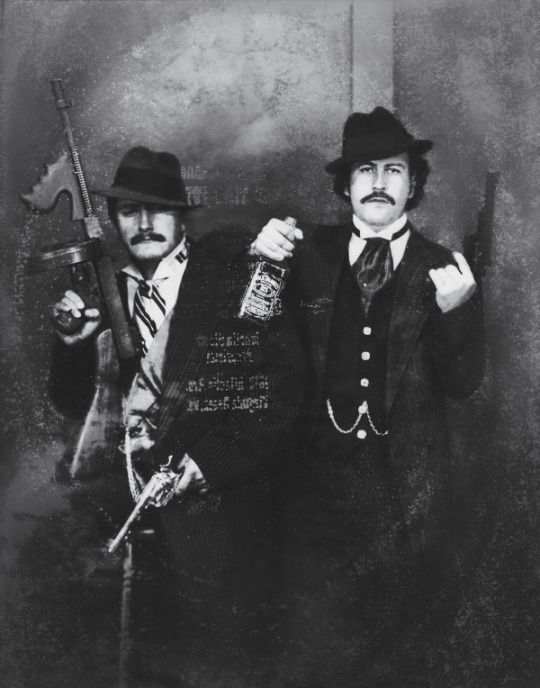 Pablo Escobar and his cousin Gustavo Gaviria dressed as gansters while visiting the museum of the FBI in Washington D.C. 1980s