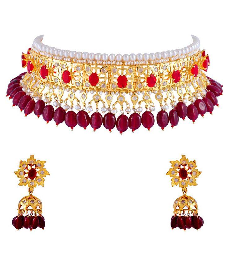 Alyzapearls Multicolour Pearl Bridal Necklace Set