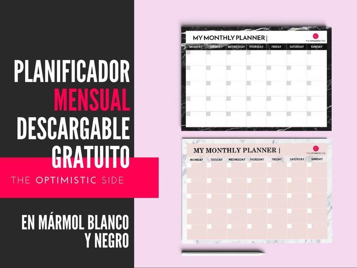 Planificador mensual descargable gratuito de mármol blanco negro y rosa - Planner original en color personalizable para cada mes -The Optimistic Side