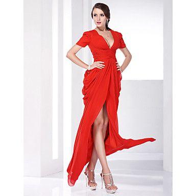 Chiffon Sheath/ Column V-neck Floor-length Evening Dress inspired by Katharine Mcphee – USD $ 178.19