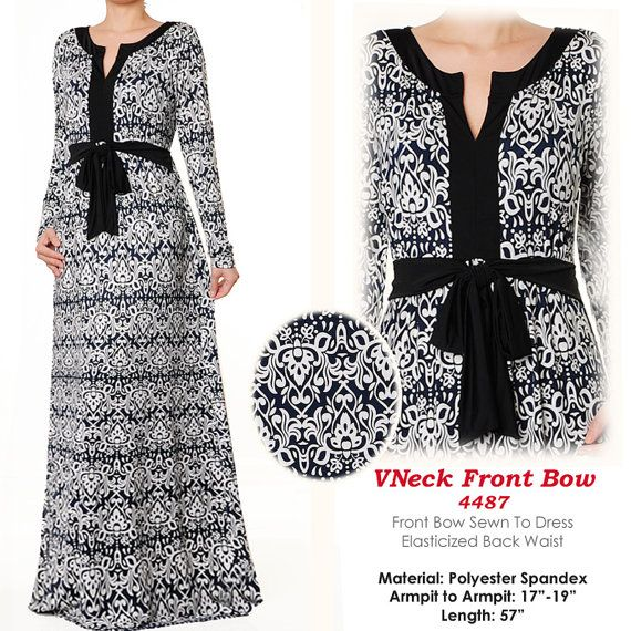 B&W Ethnic Print Vneck Islamic Muslim Abaya Jersey by MissMode21, $32.00