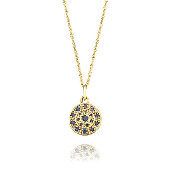 Persian Inspired Blue Sapphires Pendant Necklace in 14k Gold, Sapphire Necklace, Sapphire Jewelry
