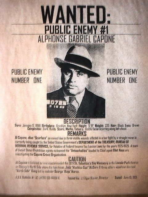 Although this poster is from the early 30's, Al Capone was notorious throughout the roaring twenties. (Hana NRMS)