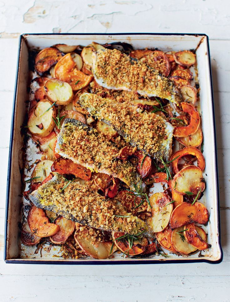 Flaky trout is topped with a golden oats-and-breadcrumb topping. Unddernealt the fish is a bed of crispy potatoes, butternut squash and sweet onion. Jamie Oliver's Trout Al Forno recipe is mouthwatering.