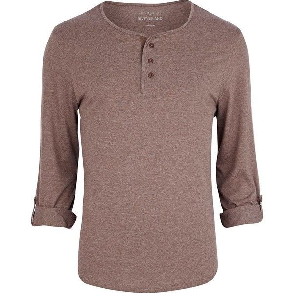 River Island Light brown roll sleeve grandad t-shirt ($6.62) ❤ liked on Polyvore featuring men's fashion, men's clothing, men's shirts, men's t-shirts, shirts, men's tops, men, mens tops, tops and sale