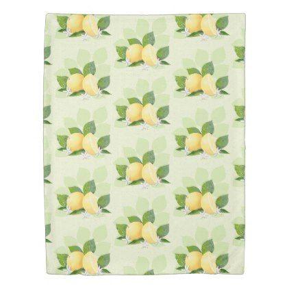 #Lemon Citrus Fruit Botanical Green Duvet Cover - #flower gifts floral flowers diy