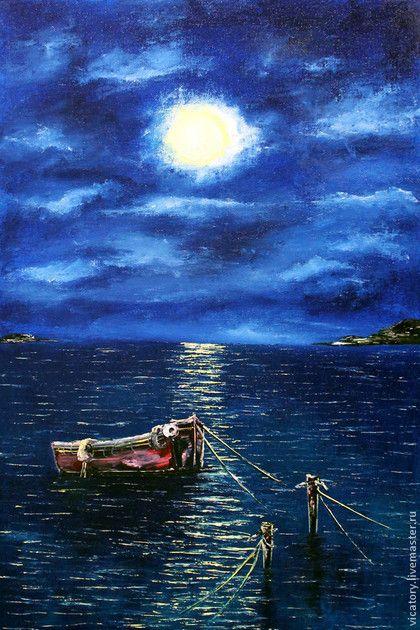 """Лодка и морское полнолуние """"Boat and the full moon on the sea"""" by Victoria Sokolova, oil, canvas, 40*60, 2014"""