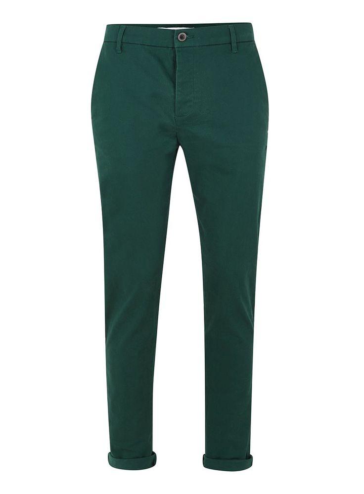 Bottle Green Stretch Skinny Chinos - Chinos - Clothing - TOPMAN USA