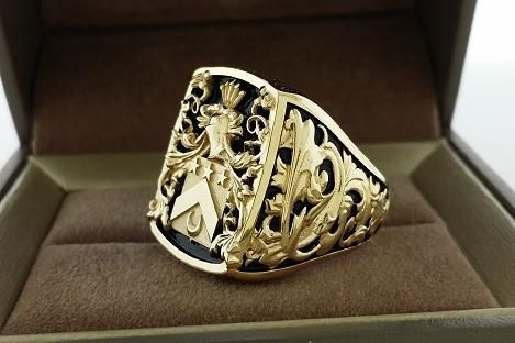 One of a kind mens ring signet ring crest ring custom made for more information contact 3dheraldry@gmail.com