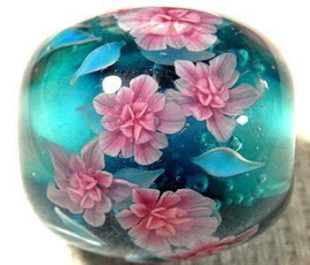 petunias lampwork bead by ayako hattori