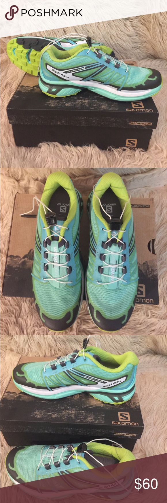 SALOMON Wings Pro 2 Trail Running Shoes, size 6.5 SALOMON Wings Pro 2 Trail Running Shoes, size 6.5.  Lucite green/Bubble blue/Gecko green.  Mesh upper w/ synthetic overlays.  Rubber toe cap.  Quicklace quick-pull lacing system w/ friction resistant eyelets & Lace pocket. Salomon Shoes Sneakers