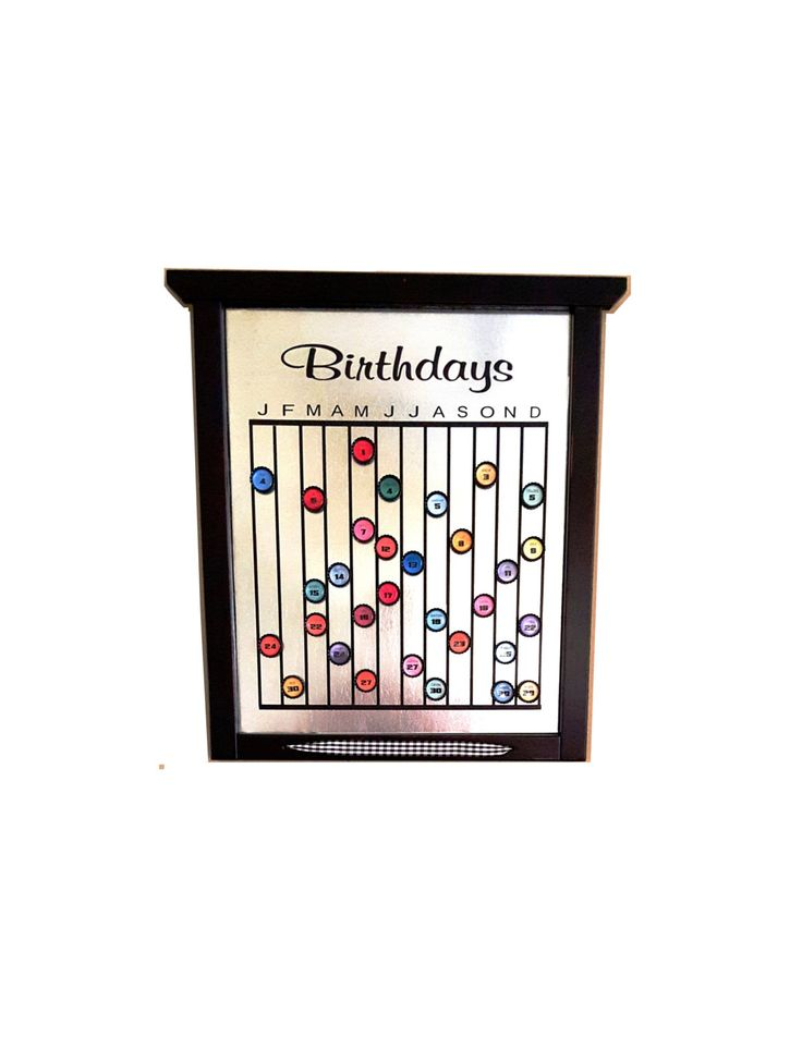 Birthday Calendar Board (magnetic)/Mother's Day Gift/Birthday Gift by MyButterflyColors on Etsy