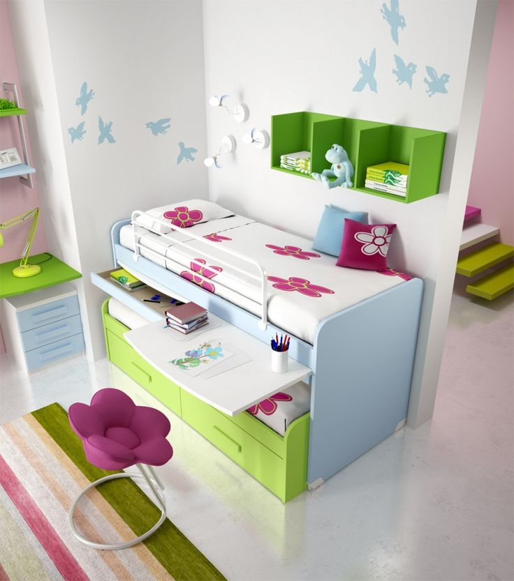 Extraordinary Teens Bunk Beds: Enchanting Teens Bedroom Blue Green Bunk Beds Furniture For Girls With Flower Shaped Couch Bunk Beds For Teens Ideas ~ ellabb.com Bedroom Design Inspiration