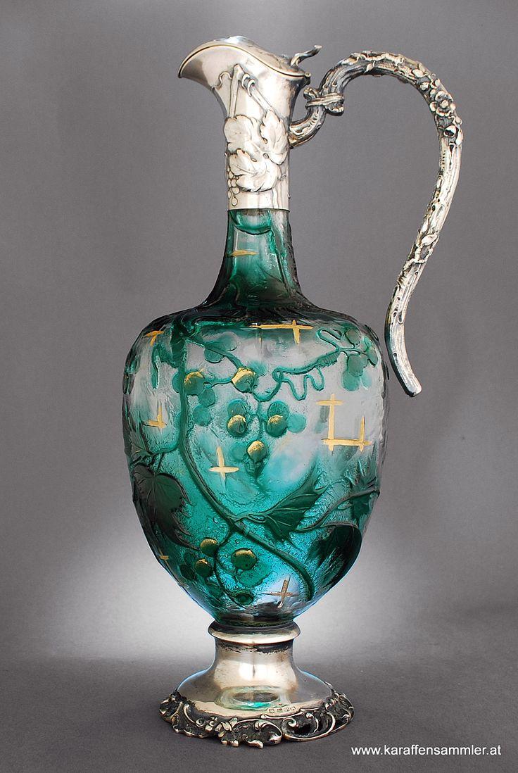 Emile Galle, Nancy, France - silver mounted ... Aiguiere , Claret Jug 1900