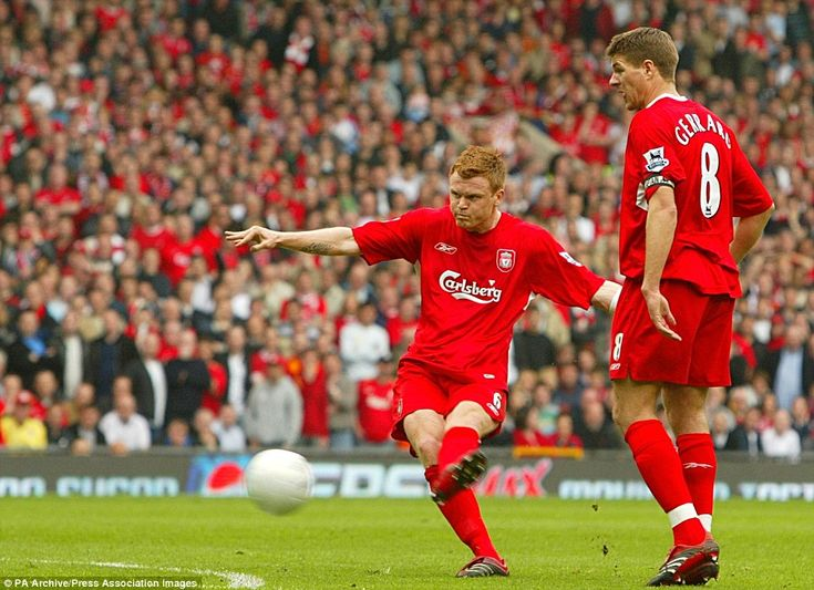 Liverpool's John Arne Riise scores from a free kick in their FA Cup semi-final clash with Chelsea at Old Trafford in 2006. It was the first goal in a 2-1 win for the Reds.