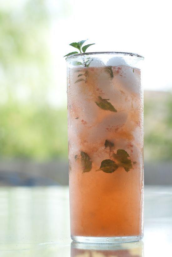 Peach Mojito (1.5 oz white rum 1 small, ripe peach 1 small handful fresh mint leaves juice of 1 lime 1 tsp sugar club soda)