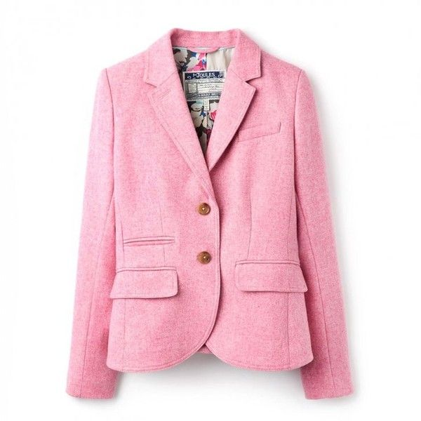 Joules Portman Ladies Tweed Blazer (T) (2.123.595 IDR) ❤ liked on Polyvore featuring outerwear, jackets, blazers, joules blazer, pink tweed jacket, pink tweed blazer, print jacket and print blazer
