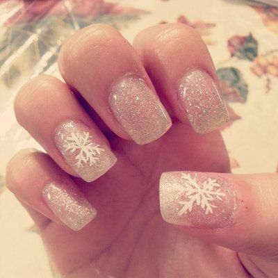 White Glitter cute christmas nails perfect for winter