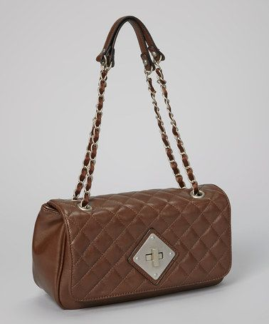 Take a look at this Dark Brown Quilted Shoulder Bag by David Jones on #zulily today!