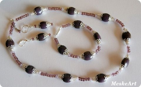 Keramic beads jewellery set / Áfonya kerámiagyöngy szett - karkötő, nyaklánc és fülbevaló, Ékszer, óra, Ékszerszett, Fülbevaló, Karkötő, Meska