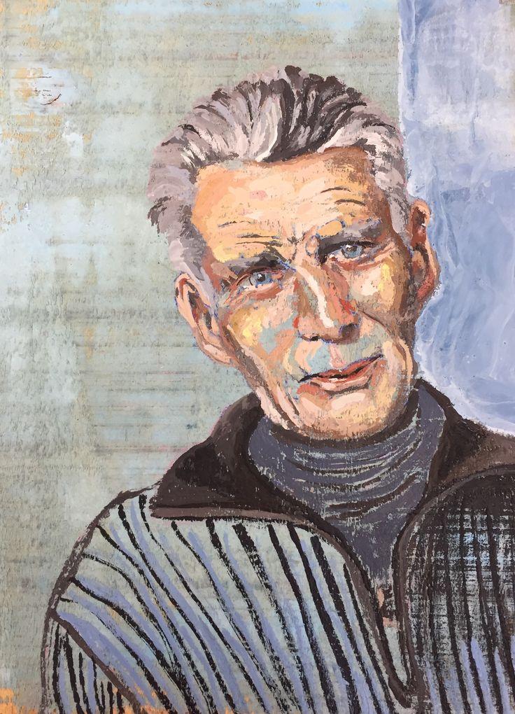 Samuel Beckett, Encaustiek op hout, 33 x 29 cm, Esther Eggink