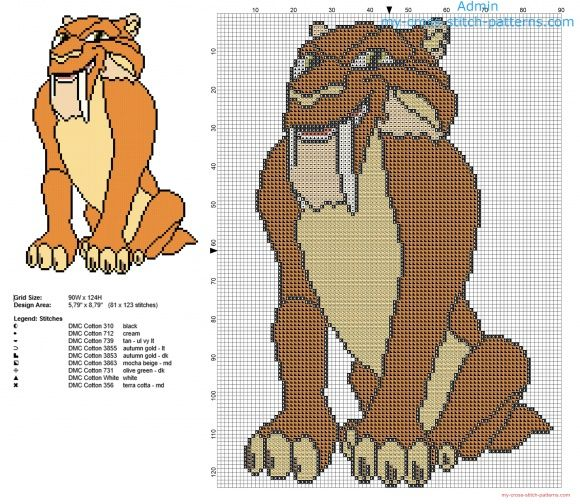 Diego saber toothed cat Ice Age character free cross stitch pattern download
