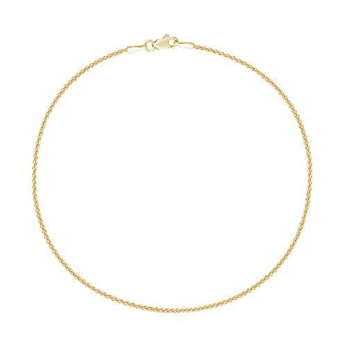14k Real Yellow Gold Wheat Chain Anklet Lobster Lock Ankle Anklet 1.1mm 10 Inches.More info for cute anklets online;single leg anklets online shopping;fancy anklets online;gold anklet;silver anklets for womens could be found at the image url.(This is an Amazon affiliate link and I receive a commission for the sales)