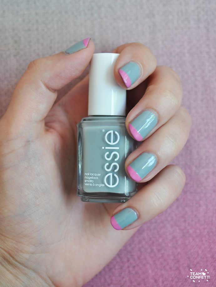 pink tips easy nailart