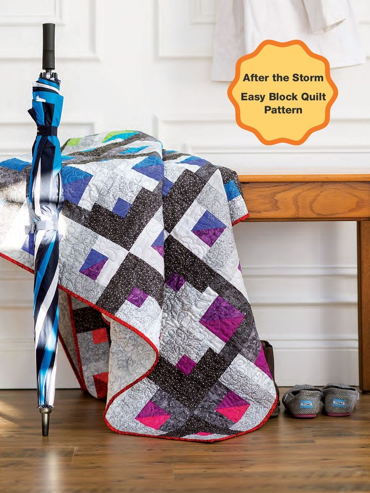 Free pattern! This easy block quilt pattern looks great and lives up to its name: After the Storm. Like a rainbow after a storm, colored blocks peek out behind gray blocks through the arrangement of squares and rectangles.