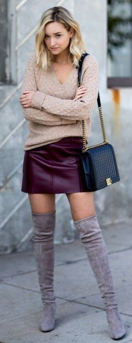 over the knee boots knit vneck and a wine mini skirt that you can get on Amazon