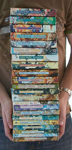 """The """"Disc World"""" series by Terry Pratchett. It's one of the funniest things you'll ever read!!"""