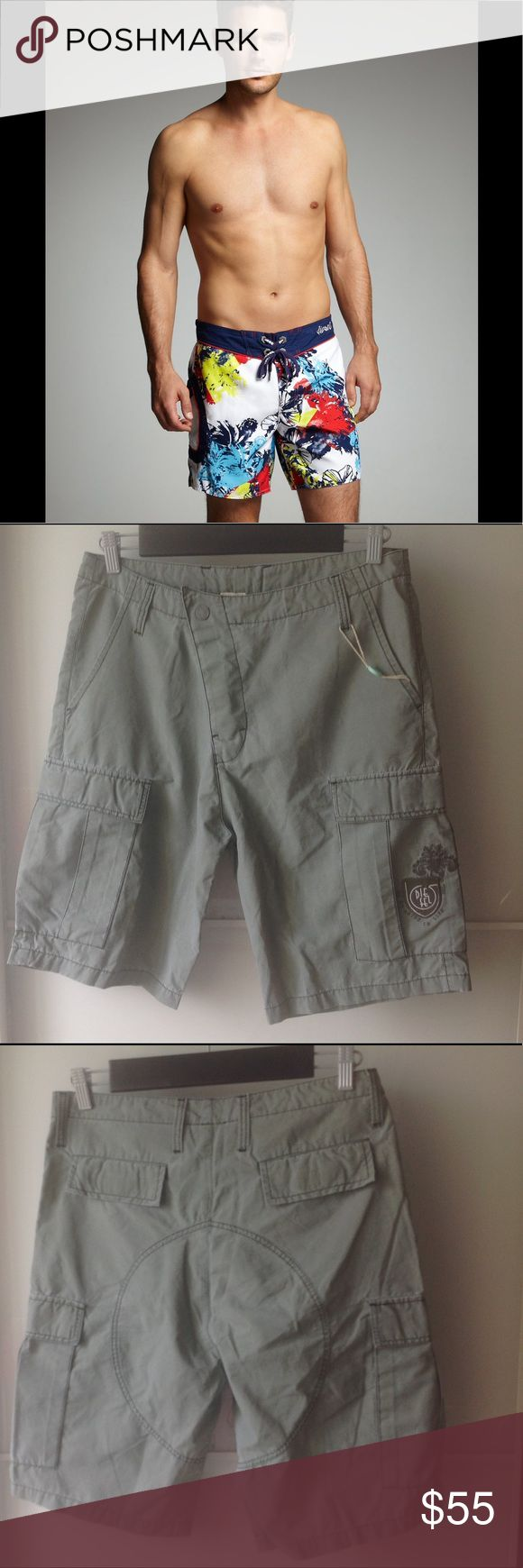 "Men's summer shorts. Great for summer and super light shorts.     78% cotton. Has a velcro and a snap for easy closing and 6 pockets. Wow!!! 👍🏻😁  16"" across the waist and 21"" long.  These are brand new and never been worn with all the tags. Color is military green/grey.  Please bundle and save! 😉 Diesel Shorts Cargo"