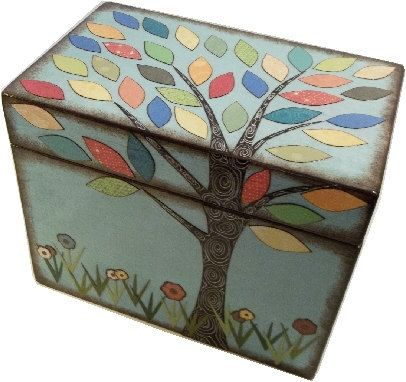 Recipe Box Decoupaged Colorful Tree Wedding Shower Box, Handcrafted  Kitchen Storage, Organization Holds 4x6 Recipe Cards  MADE To ORDER