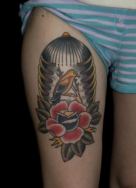bird rib cage tattoo by Myke Chambers Tattoos