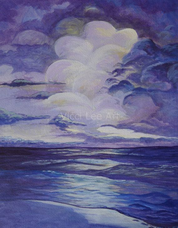 Seascape PRINT, Sunrise Artwork, Coastal Painting, Ocean Art Print, Nautical Décor, Ocean View Wall Art, Seaside Decor, Bathroom Wall Decor, #art #landscapeart #print