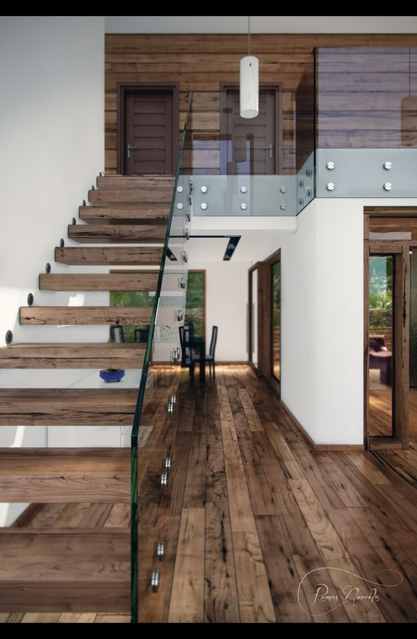 floating reclaimed wood stairs.
