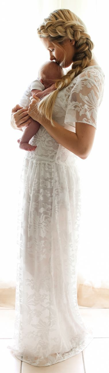 Revolve Clothing White Semi Sheer Lace Maxi Dress by Barefoot Blonde