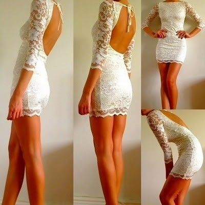 white lace dress with open back...perfect for rehearsal dinner!