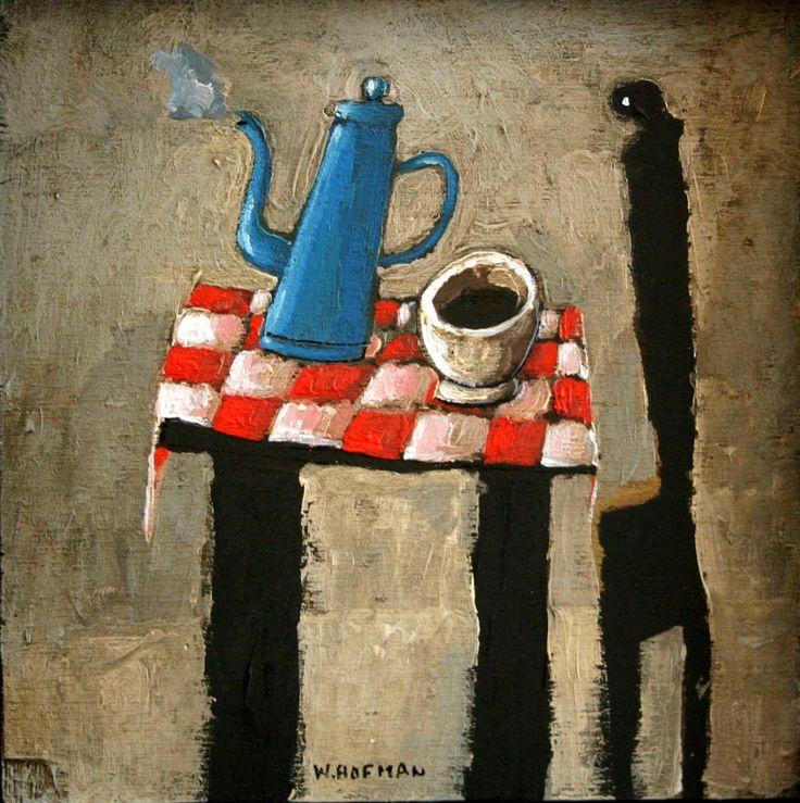 © Wim Hofman, Dampende koffiepot, 2002. Gemengde techniek op hout, 16 x 16 cm.  Foto: Bo de Jong. Particulier bezit.