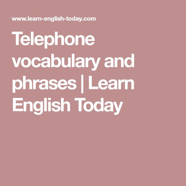 Telephone vocabulary and phrases | Learn English Today