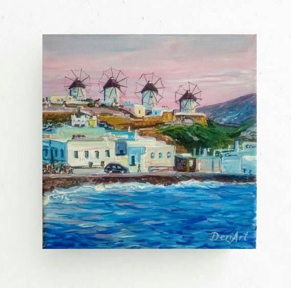 Gifts & mementosMykonos island paintingWindmill